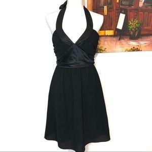 Betsey Johnson•Black Halter Short Zip Tie Dress